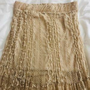 Skirts - High waist nude lace skirt